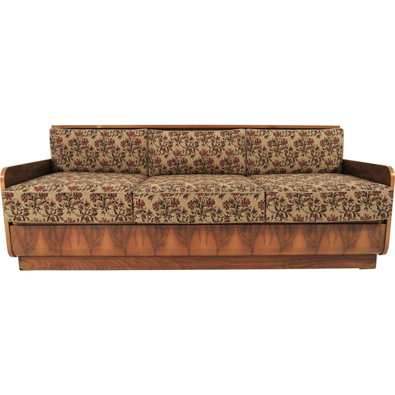 Vintage walnut Sofa Bed Art Deco 1960s