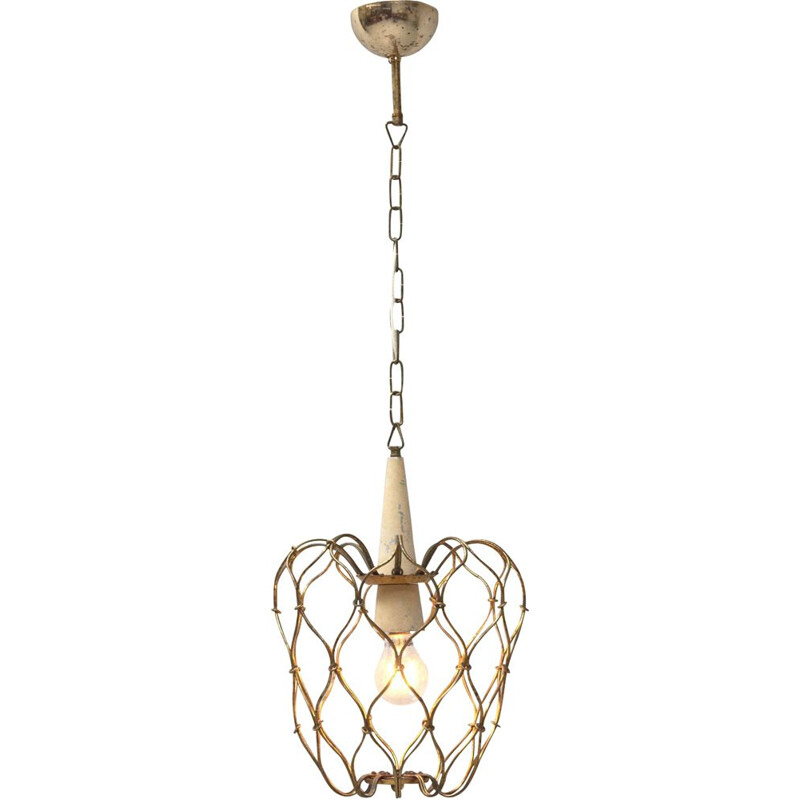 Vintage Brass Wireframed Hanging Lamp, Italy 1950s