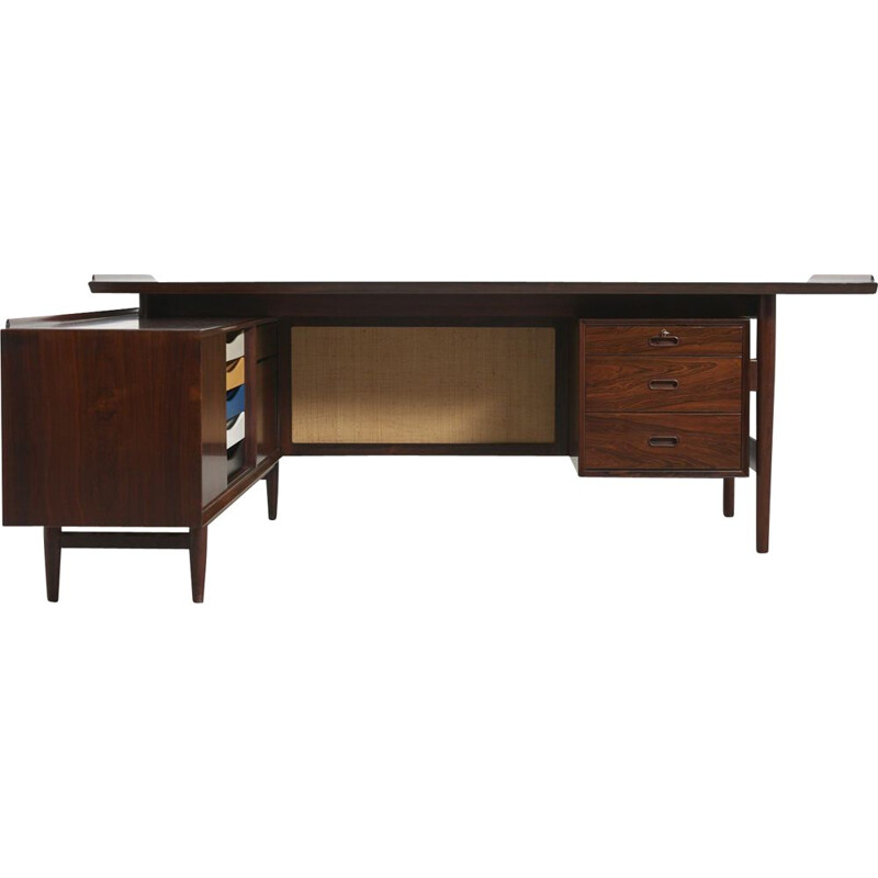 Vintage palisander desk with sideboard by Arne Vodder, Denmark 1950