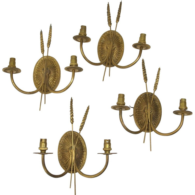 Set of 4  Golden Wall lamps in the style of Maison Jansen France 1960