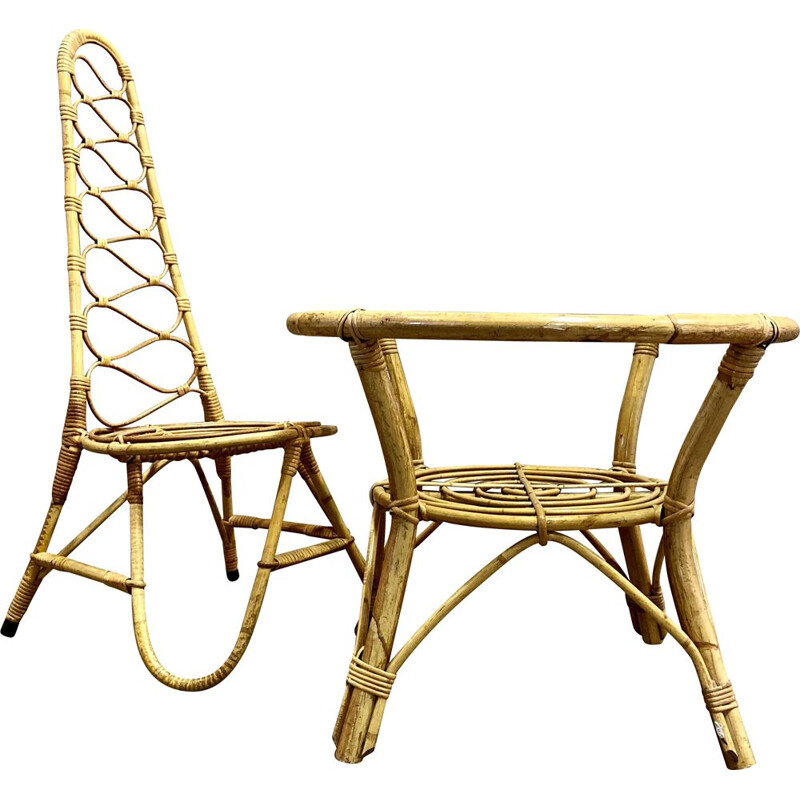 Vintage rattan chair and table 1960