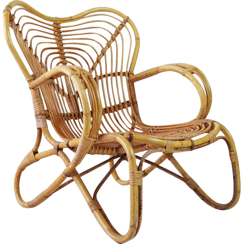 Mid century rattan chair by Trio Noordwolde Holland 1960