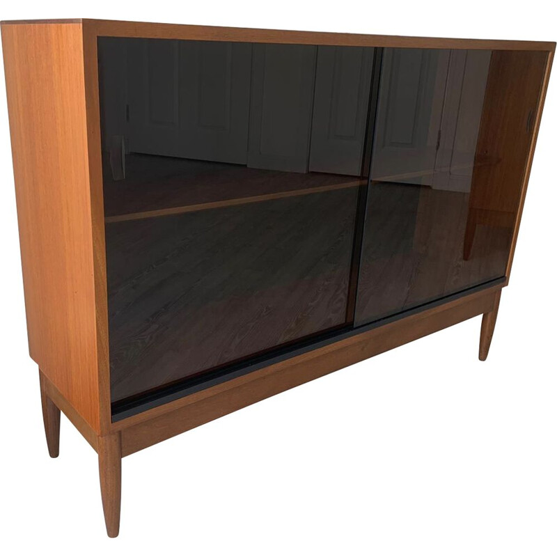 Mid-Century 2 Sliding Glass Door Teak Cabinet Sideboard from Greaves and Thomas 1960