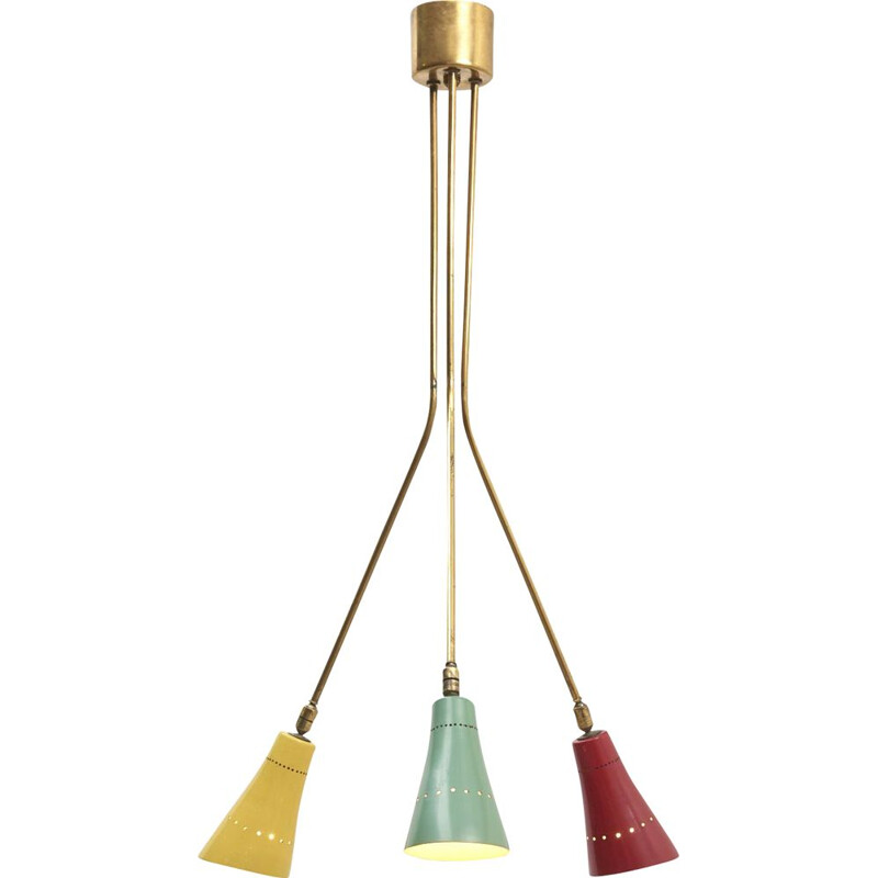 Vintage Directional Ceiling Lamp in Brass, Italy 1950s