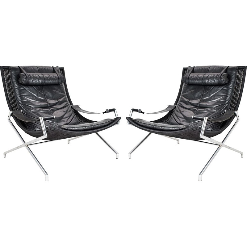 Pair of vintage lounge chairs  Gerard van den Berg in black leather and wicker 1970s