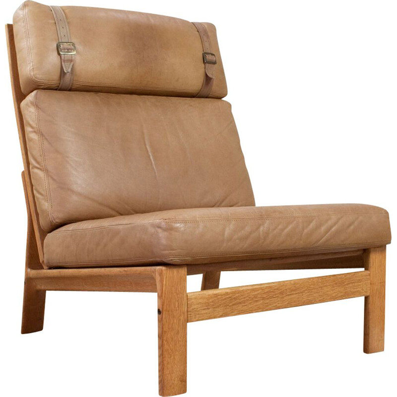 Vintage high back leather lounge chair, Denmark 1960s