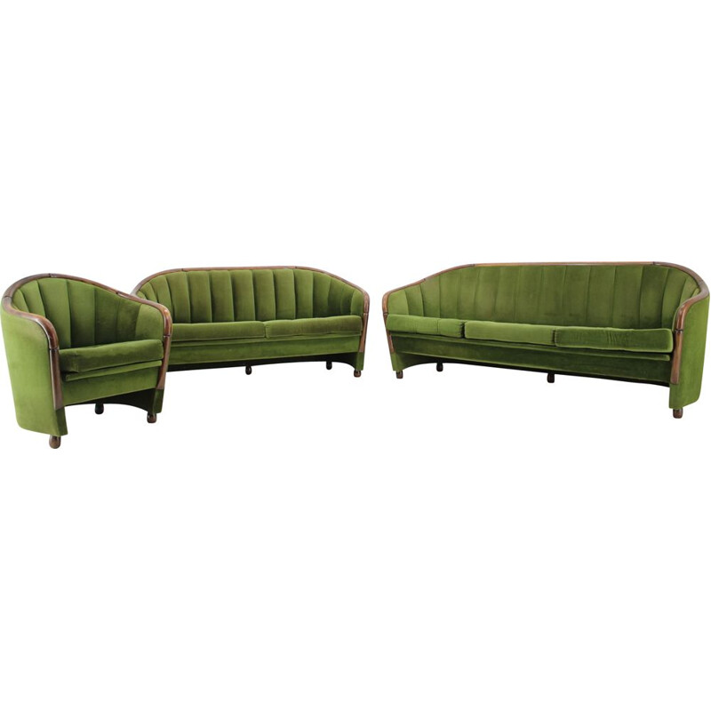 Vintage green fabric living room Italy 1950