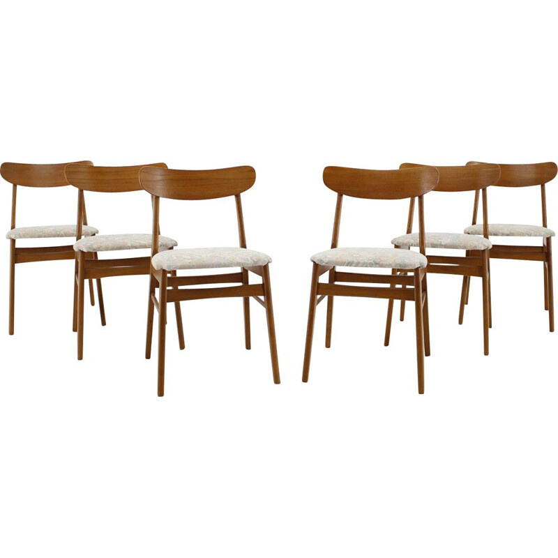 Set of 6 vintage Teak Dining Chairs, Danish 1960s