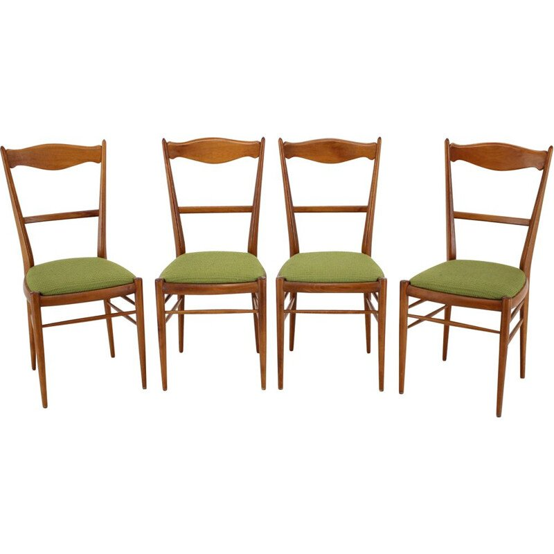 Set of 4 vintage beech dining chairs, 1960s