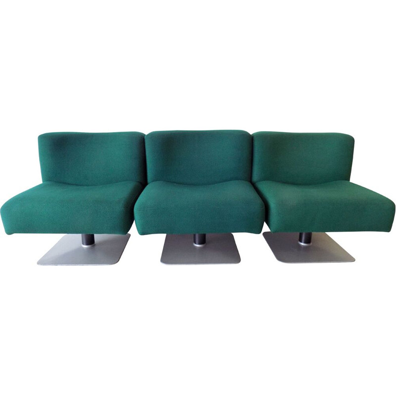 Set of 3 vintage petrol lounge chairs Mauser System 350 by Herbert Hirche