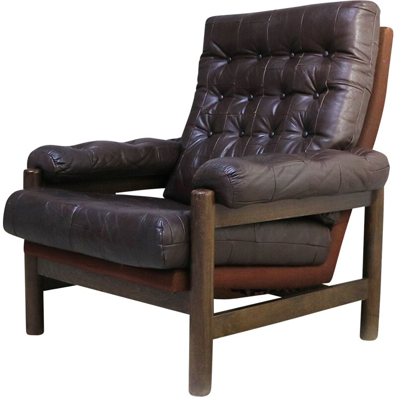 Mid century leather armchair Danish 1960s