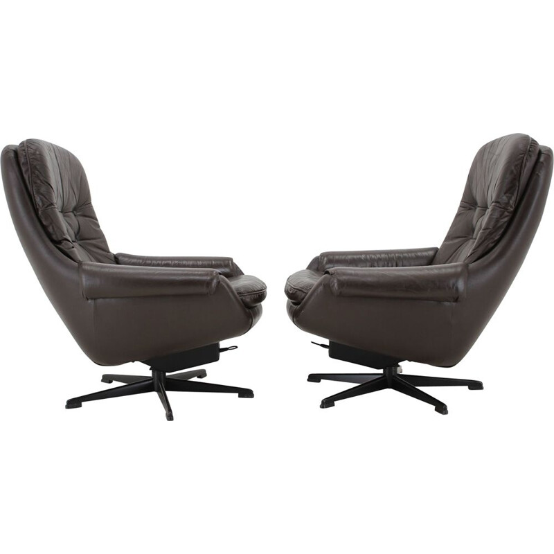 Pair of Vintage Leather Armchairs  Lounge Chairs by Peem, Scandinavian 1970s