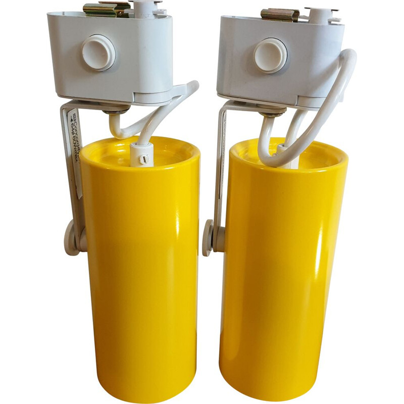 Pair of Yellow Concord ceiling track spotlights 1970s