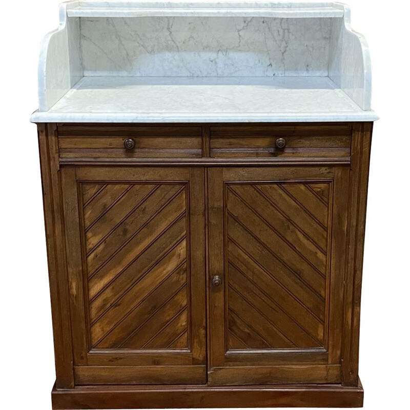 Vintage pine pitch pine and marble top cabinet 1930's