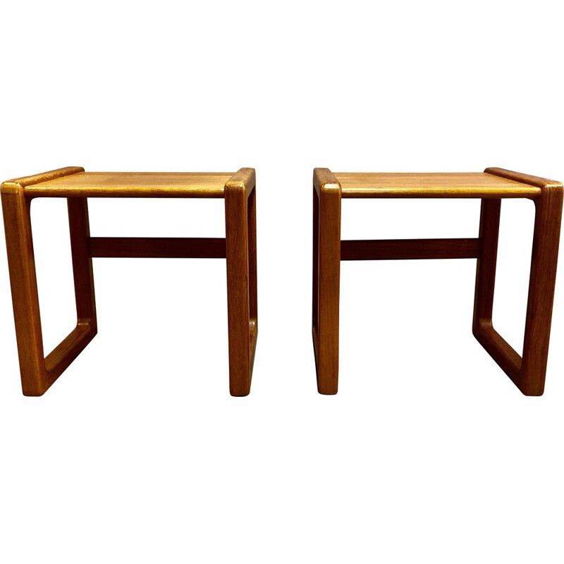 Pair of vintage side tables or  bedside tables scandinavian 1950s