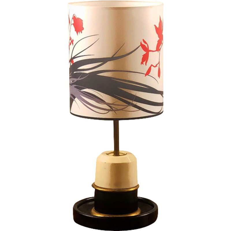 Vintage empty pocket lamp in leather and wood 1940