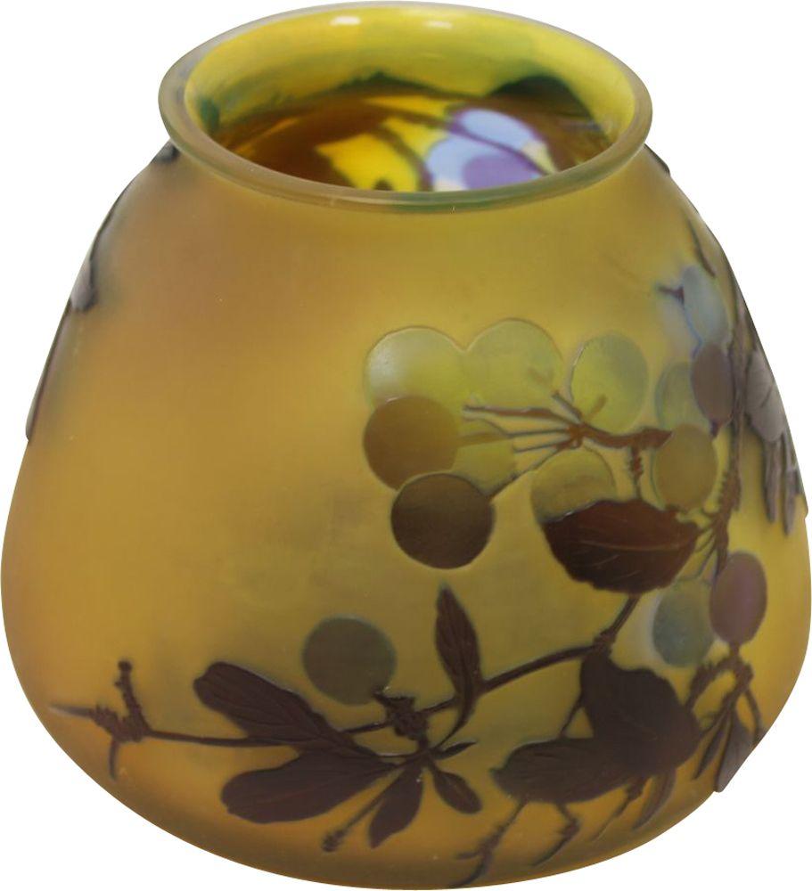 Vintage Yellow Vase Signed By Emile Gallé, Art Nouveau France 1920