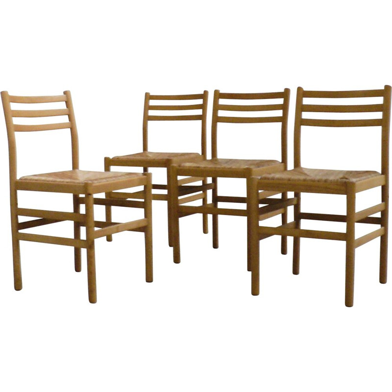 Set of 4 Vintage chairs beech and stone straw by pierre gautier delaye 1950's