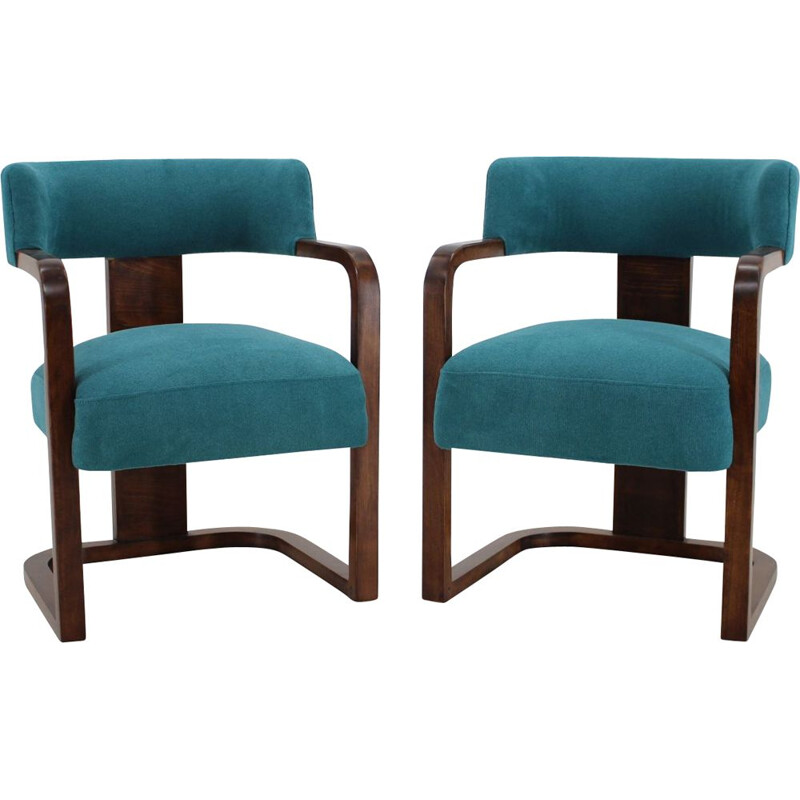 Pair of Art Deco Armchairs, Czechoslovakia 1930s