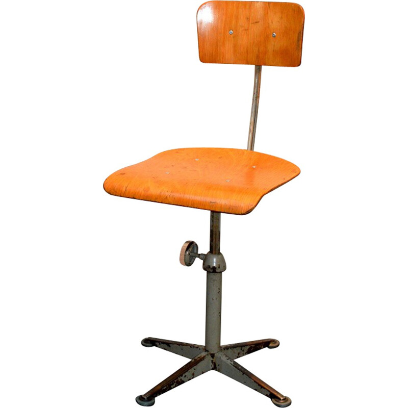 Industrial desk chair in wood and metal, Friso KRAMER - 1970s