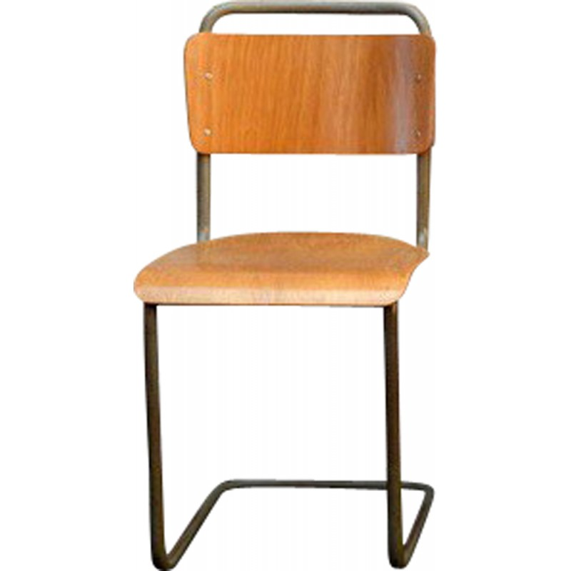 Set Of 4 School Chairs In Metal And Wood 1950s