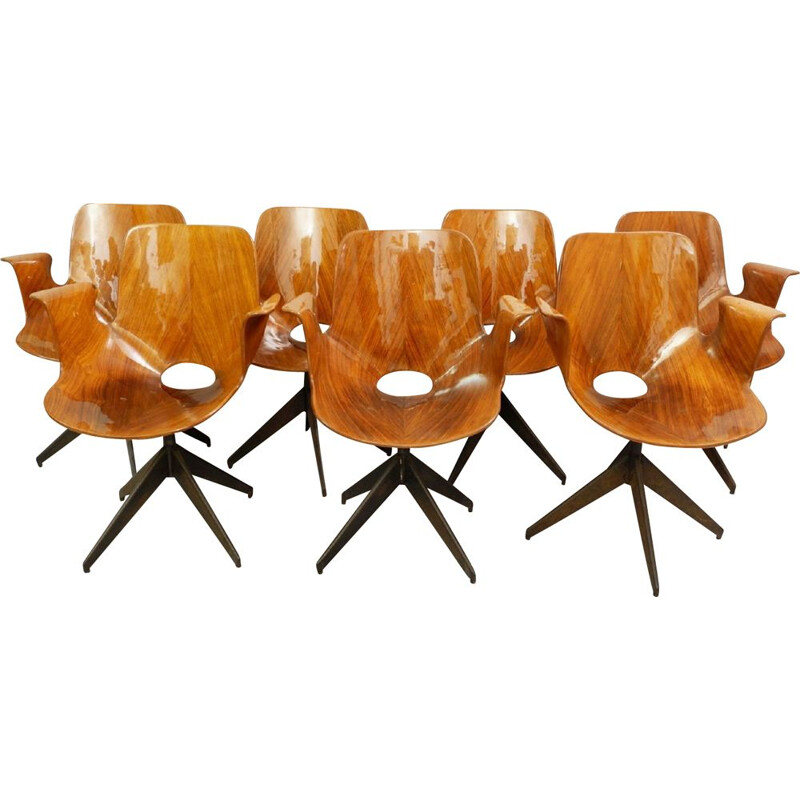 Set of 6 Medea Vintage Office Chair with Swivel Base by Vittorio Nobili for Fratelli Tagliabue, 1950