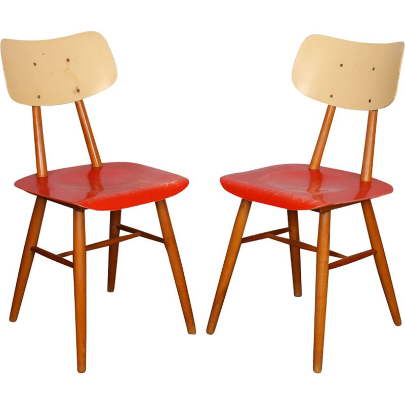 Pair of vintage red Czech chairs 1960