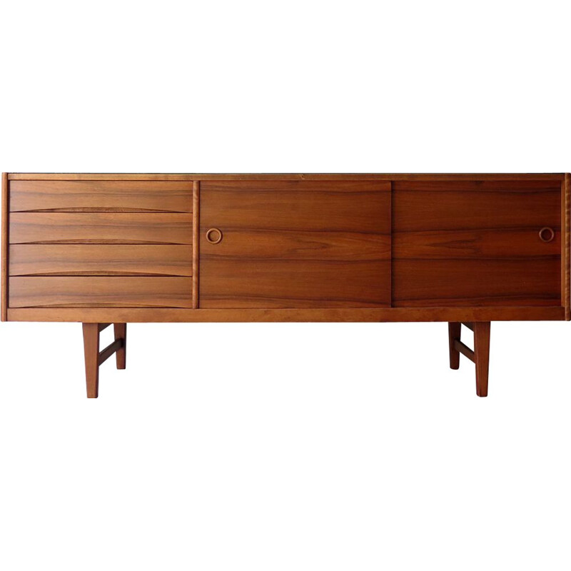 Vintage sideboard with black glass top, 1960s