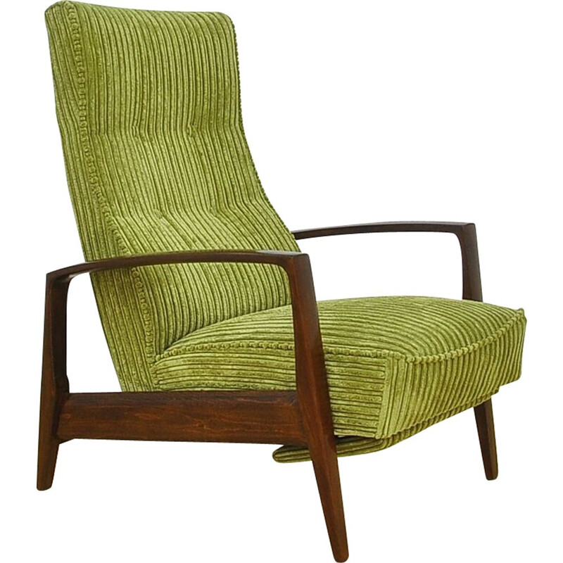 Vintage Corduroy armchair with folding footrest, 1960s