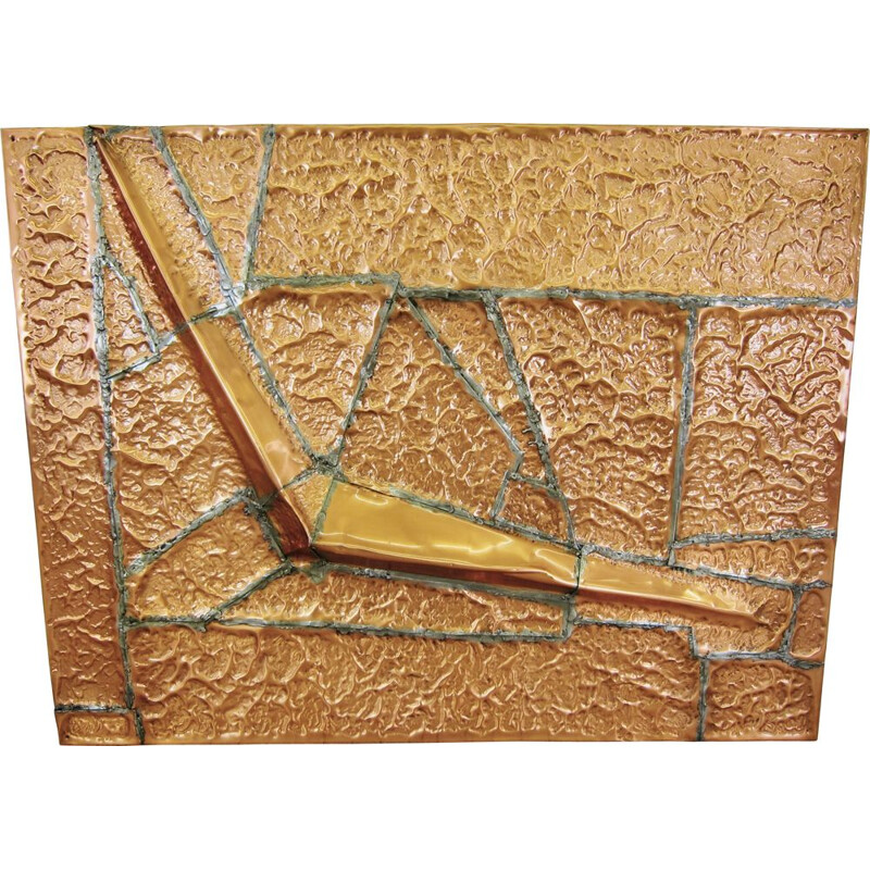 Large vintage Brutalist copper Artwork 1980s