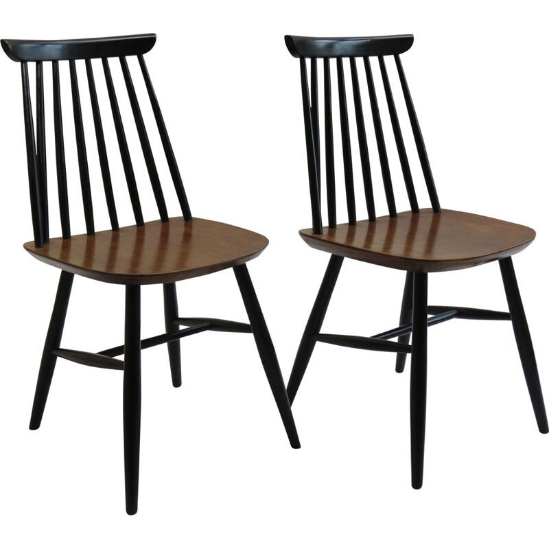Pair Of vintage Black and Walnut Dining Chairs 1950s