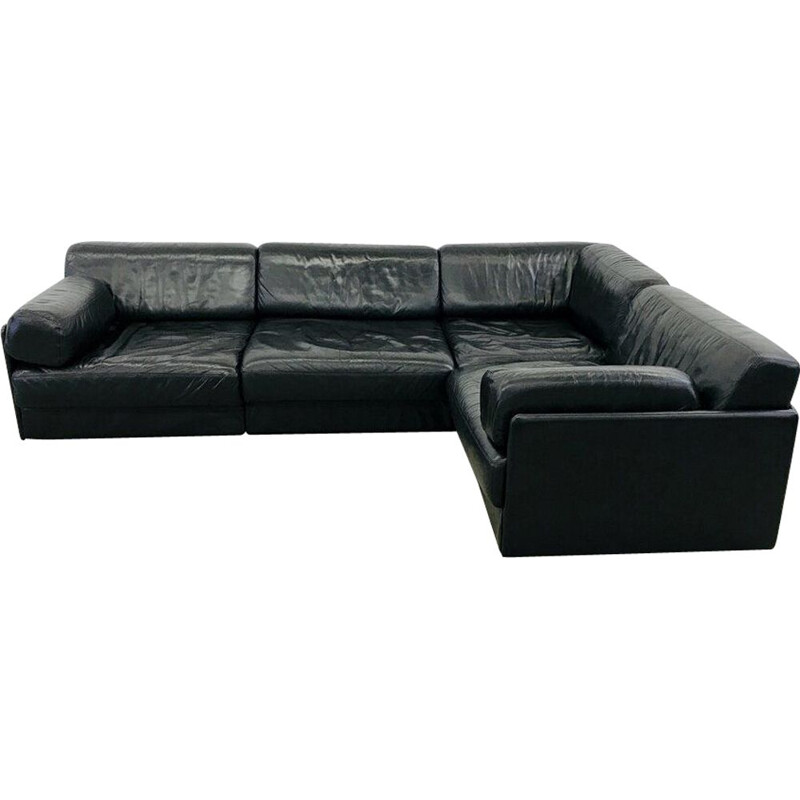 Vintage black leather modular sofa De Sede ds76