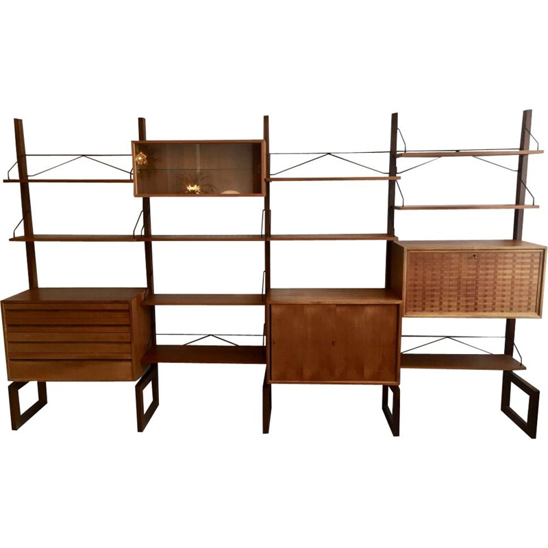 Vintage freestanding shelves in teak by Poul Cadovius Denmark 1960