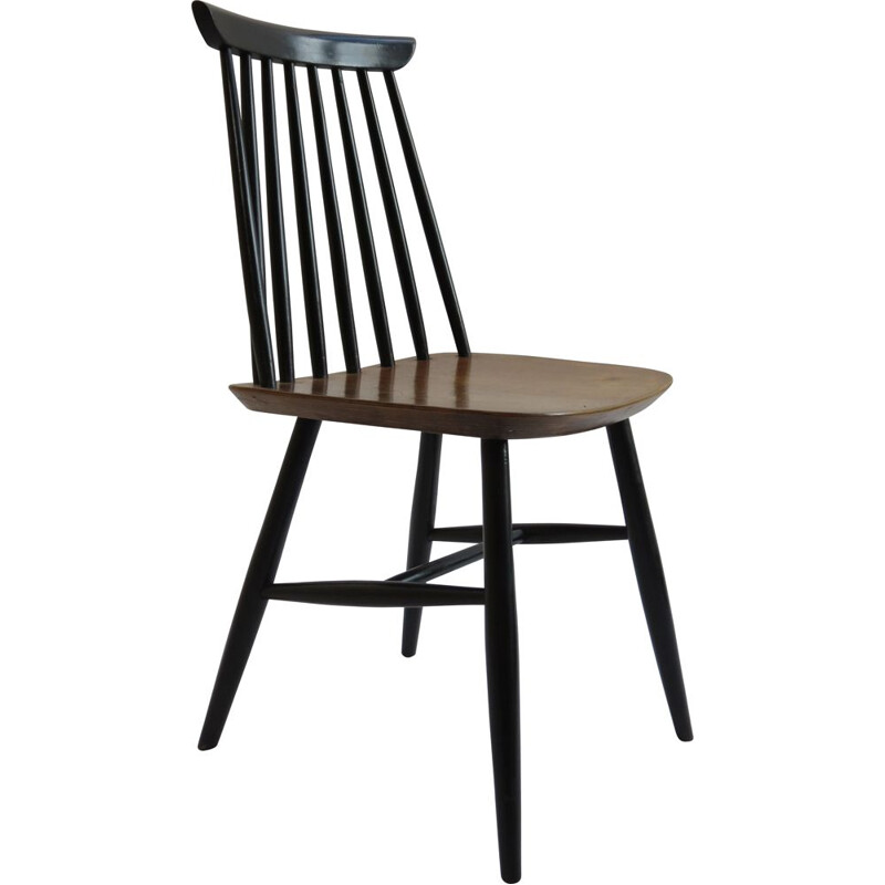 Vintage Dining Chair Black And Walnut In The Style Of Imari Tapiovaara 1950s