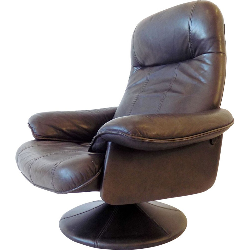 Vintage loungechair Thams Kvalitet brown danish leather 1970s