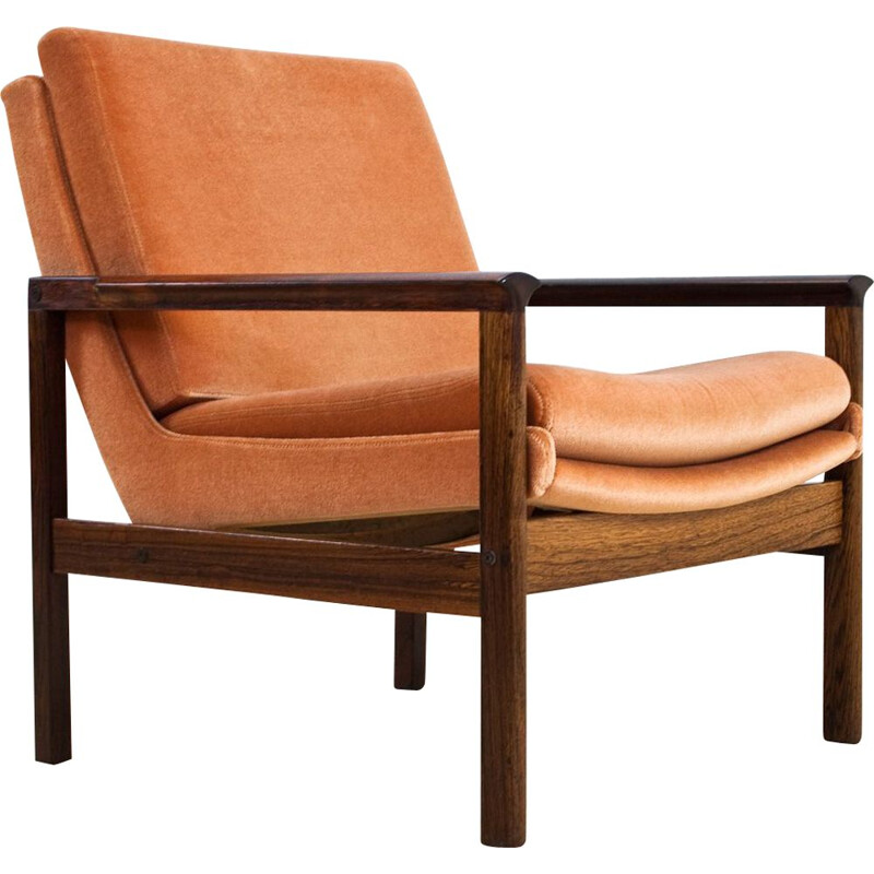 Vintage armchair in rosewood and orange velvet in Knut Saeter Danish 1960s