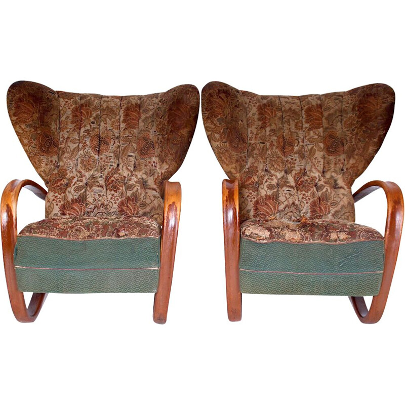 Pair of prototype wing chairs, Halabala model H-269, 1930s