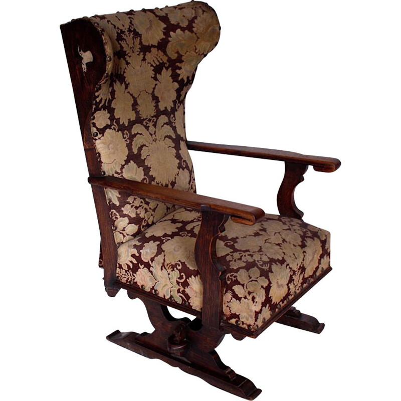 Vintage Old castle chair, Czechoslovakia 1900s