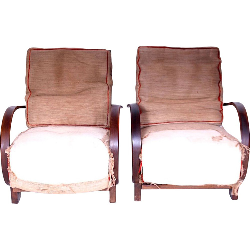 Pair of vintage armchairs designed by Jindřich Halabala, 1920s