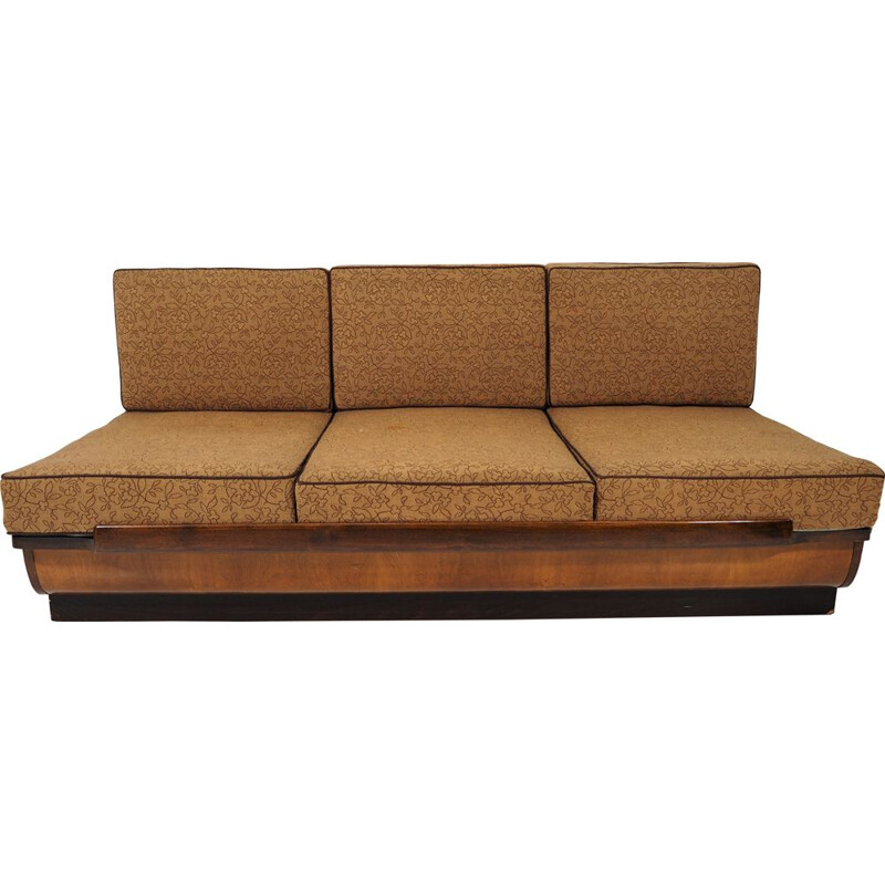 Vintage walnut Sofa Bed,Art Deco 1960s