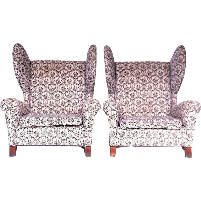 Pair of vintage wing chairs, 1960s