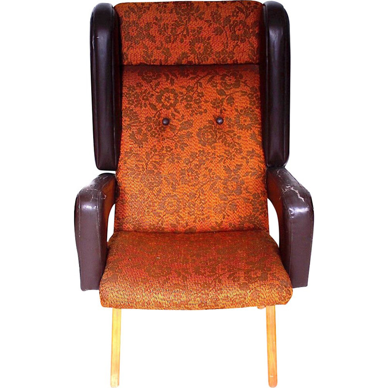 Vintage wing chair wood and fabric Czechoslovakia 1965