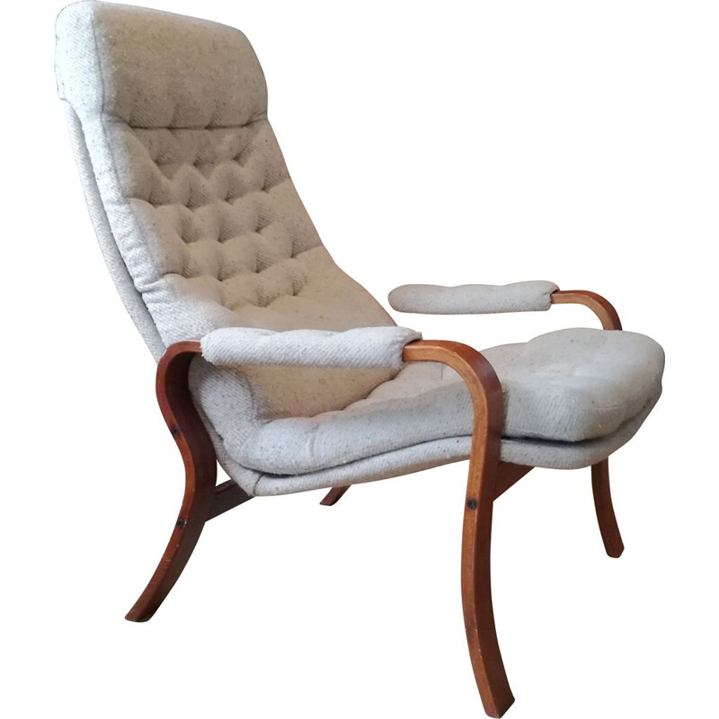 Vintage armchair in beech wood and heathered fabric,scandinavian 1960