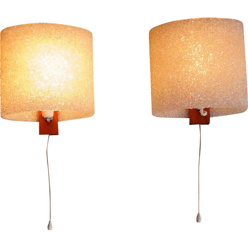 Pair of vintage wall lamps, plastic and teak holder 1960s