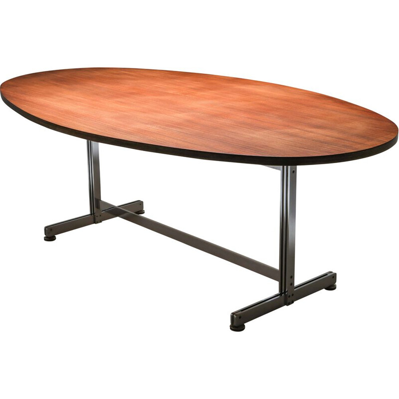 Vintage Jules Wabbes Oval Dining Table for Mobilier Universel 1960s