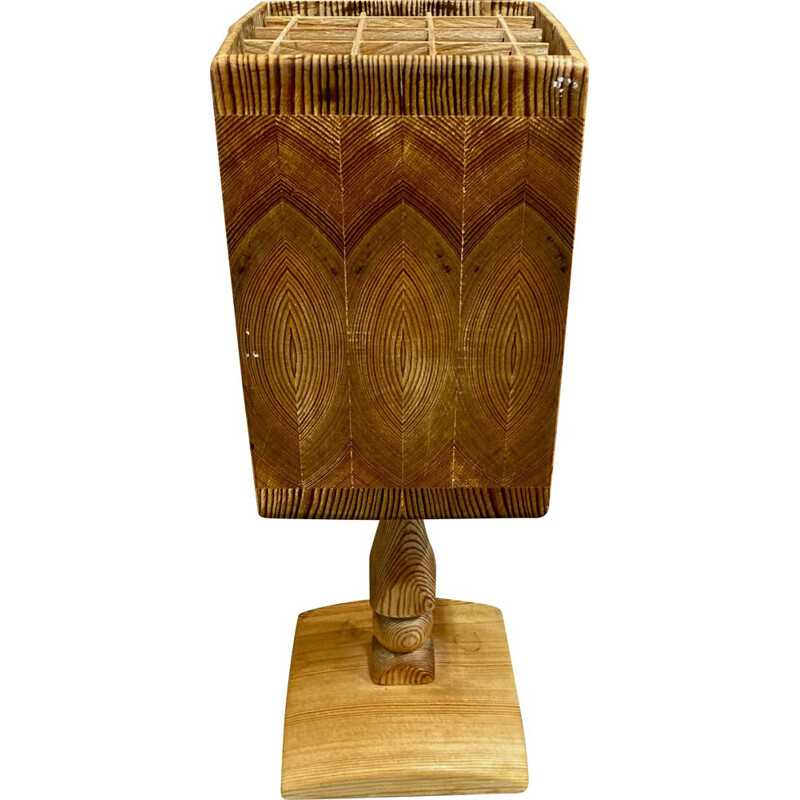 Vintage Scandinavian solid wood lamp 1950