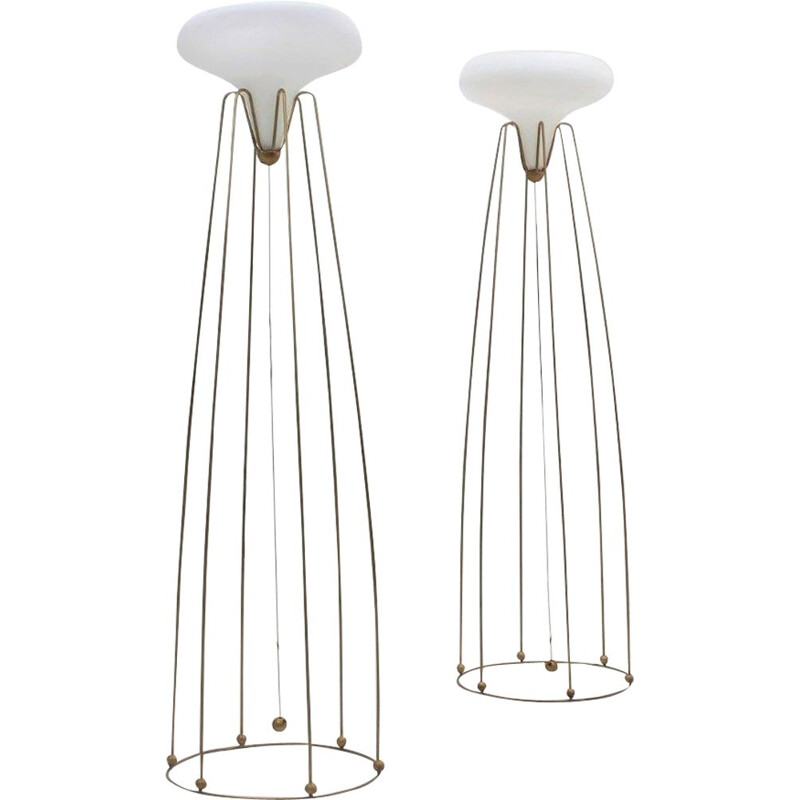 Pair of Vintage High Floor Lamps, 1980s