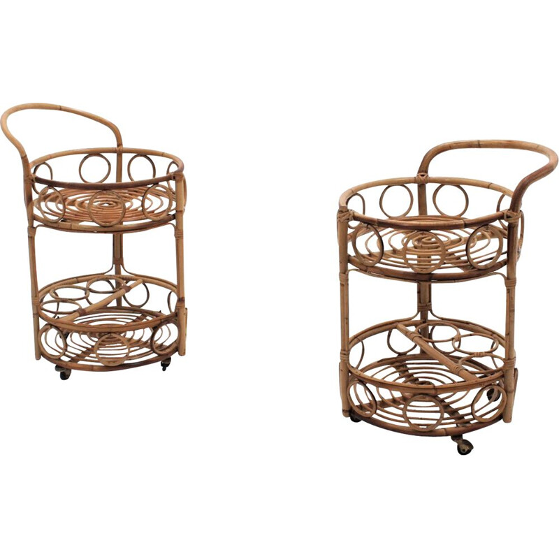 Set of 2 Vintage bamboo rattan serving trolley 1950