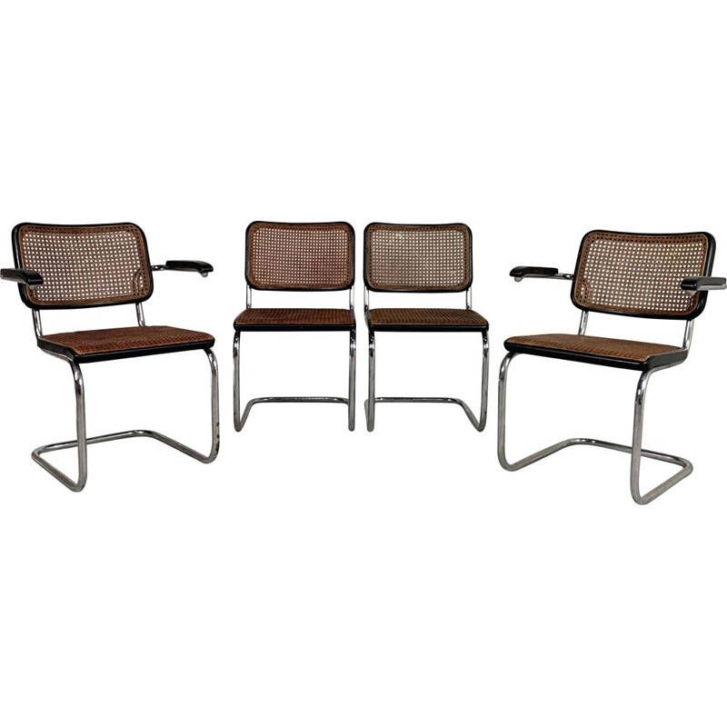 Set of 4 vintage B32 & B64 Cesca Chairs by Marcel Breuer for Thonet, 1940s