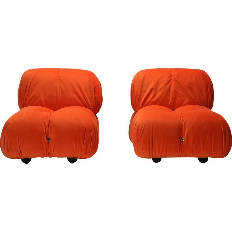 Pair of Vintage Lounge Chairs Camaleonda  in Bright Orange Velvet 1970s